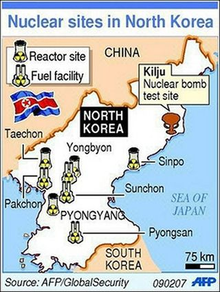 NK Nuclear Sites Map